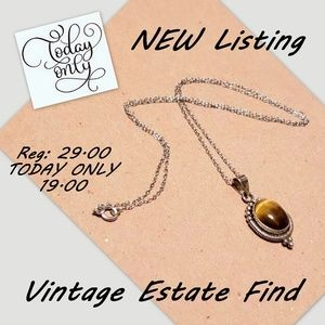 Beautiful Vintage Sterling Silver Tiger Eye